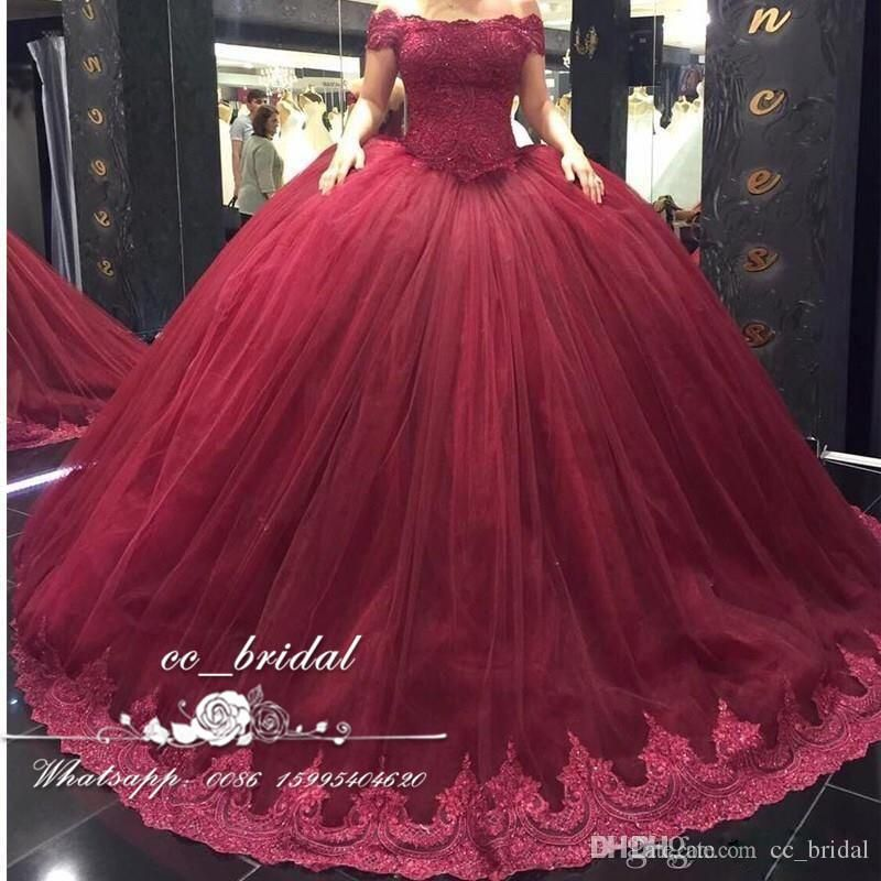 Burgundy Off The Shoulder Quinceanera Dresses 2017 With Appliques