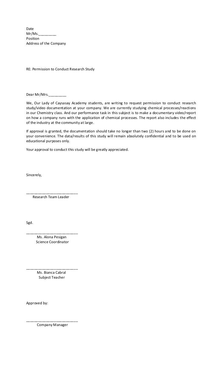 Letter Of Request Sample Letter Asking Permission To Conduct A