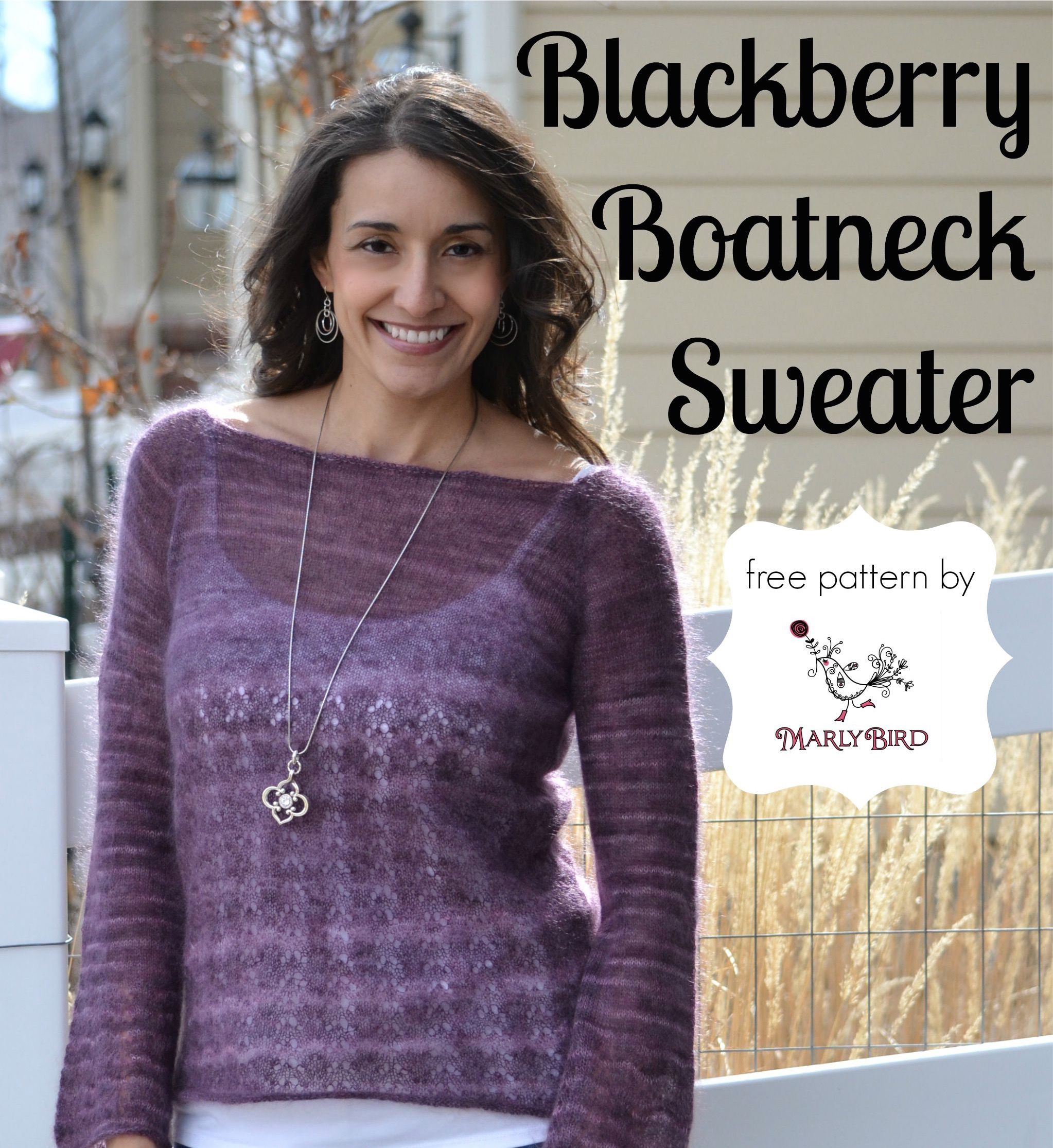 A perfect sweater to wear anytime of year the blackberry boatneck free knit sweater pattern that has a bite of lace and stockinette stitch the blackberry boatneck sweater by marly bird is a perfect fit for all body types bankloansurffo Images