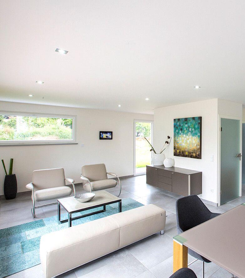 Hochwertig Interior Design Wohnzimmer Modern   Inneneinrichtung Haus ICON  Winkelbungalow Von Dennert Massivhaus   HausbauDirekt.de