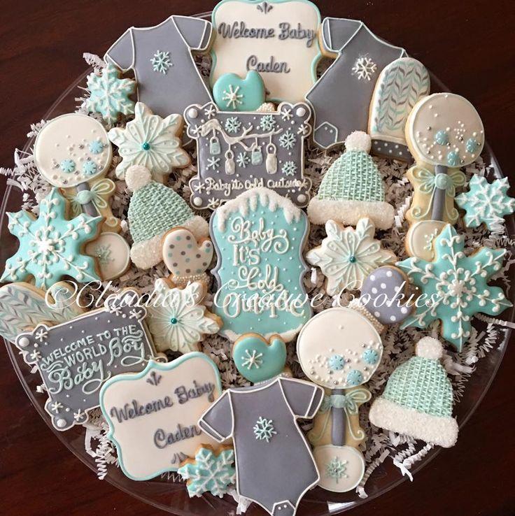 Baby Shower Cookies Claudias Creative Cookies Winter Party