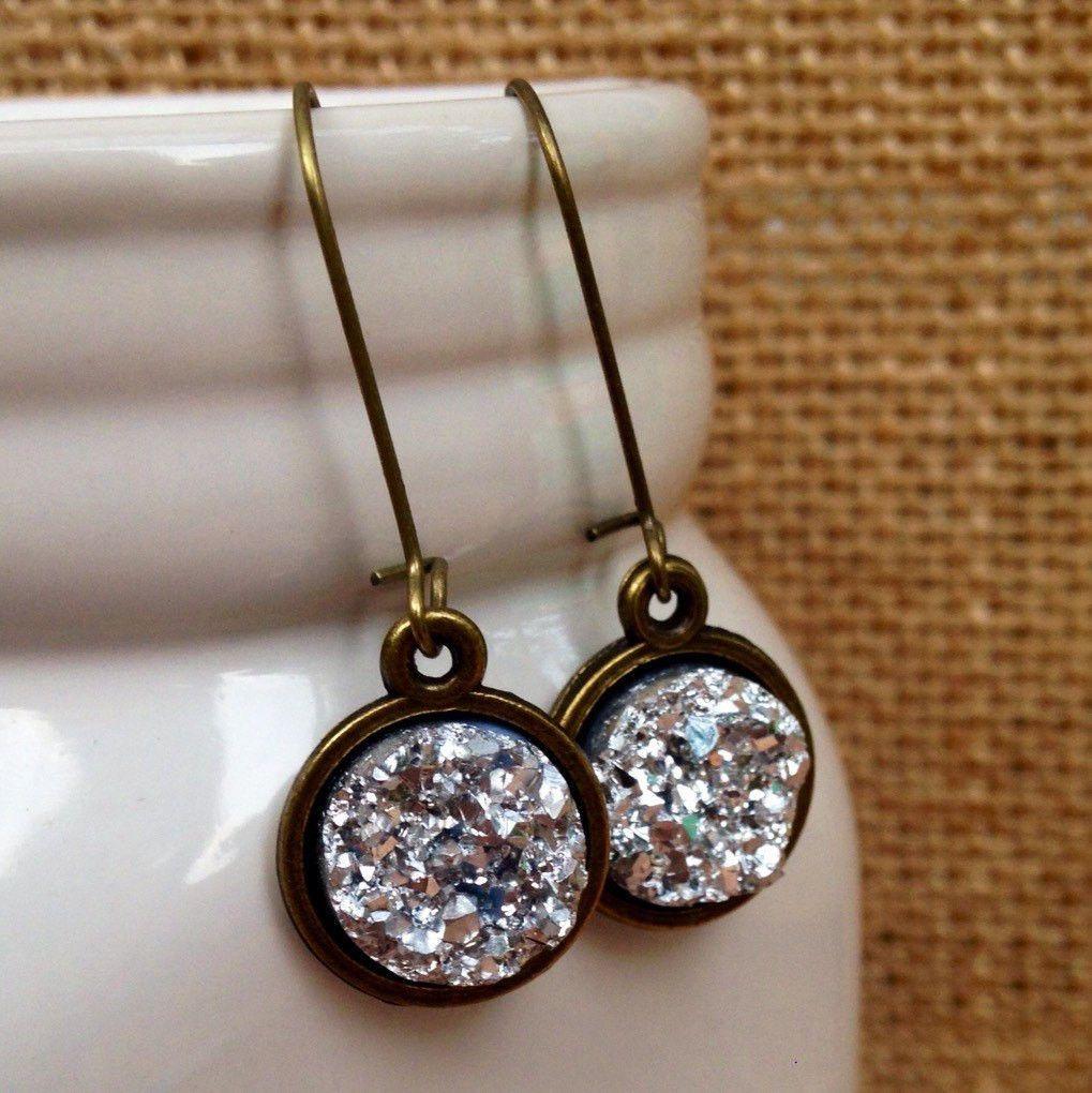 Metallic silver druzy dangle earrings, round druzy appearance ...