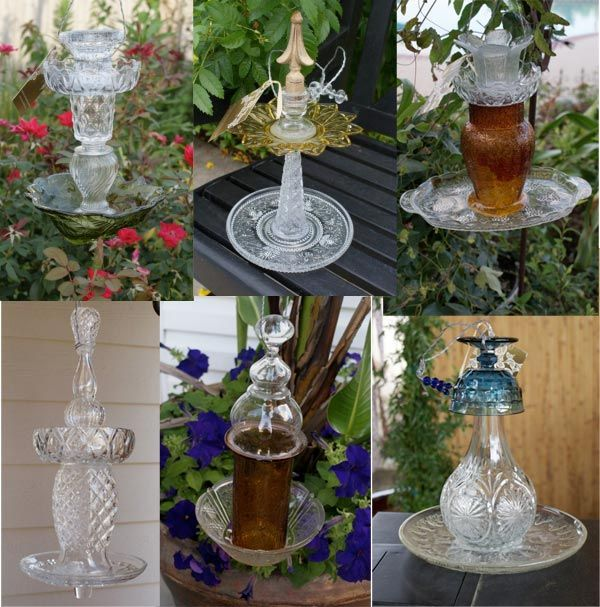 These glass bird feeders by Fancy Feathers are made using various pieces of glass, crystal, china, etc. Just like building a glass totem garden art, each feeder is unique in style and personality.