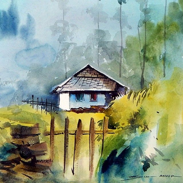 Watercolor Landscape Painting India Art Chandigarh Sikander