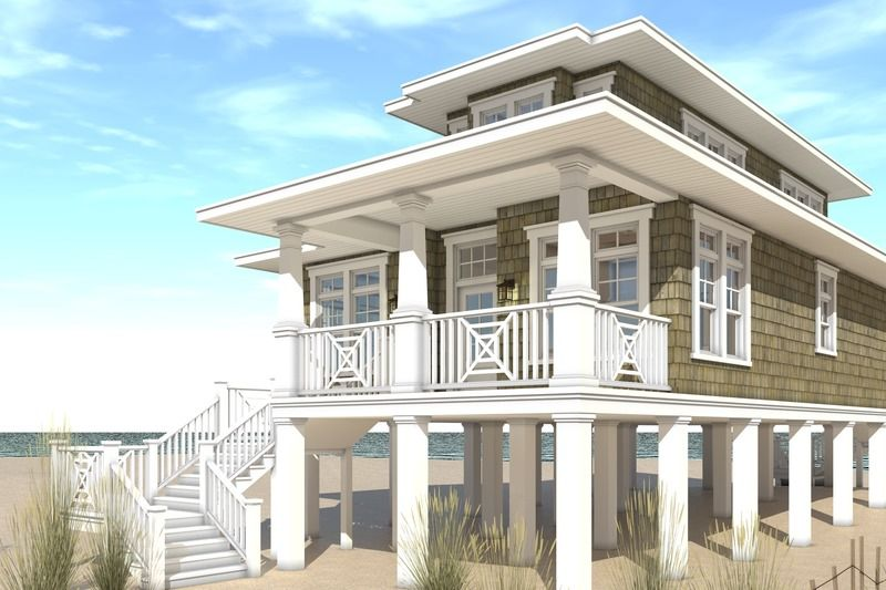 Beach Style House Plan 4 Beds 3 Baths 2810 Sq Ft Plan 901 114 Beach House Flooring Beach House Design Beach House Floor Plans