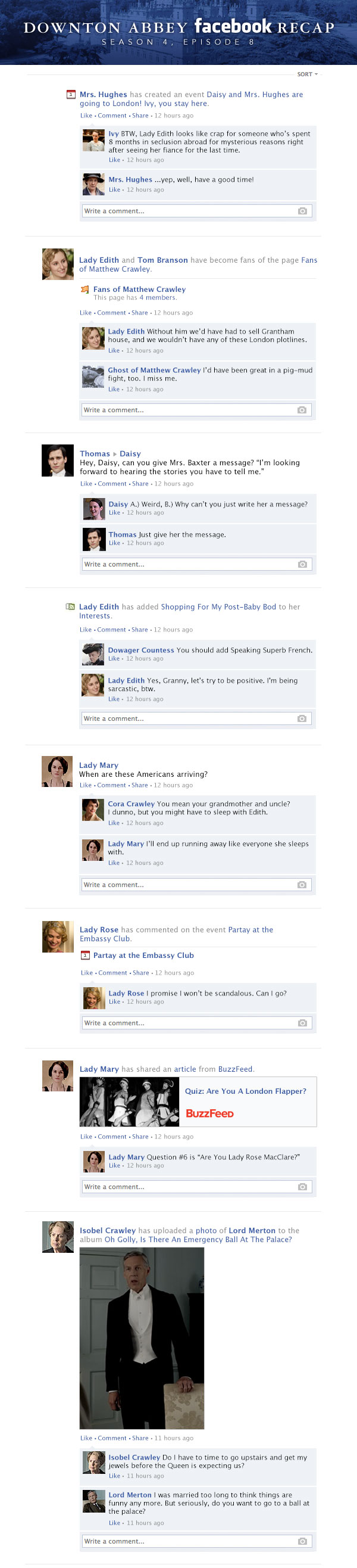 If 'Downton Abbey' took place entirely on Facebook - Season 4 Finale, 'The London Season' Recap.