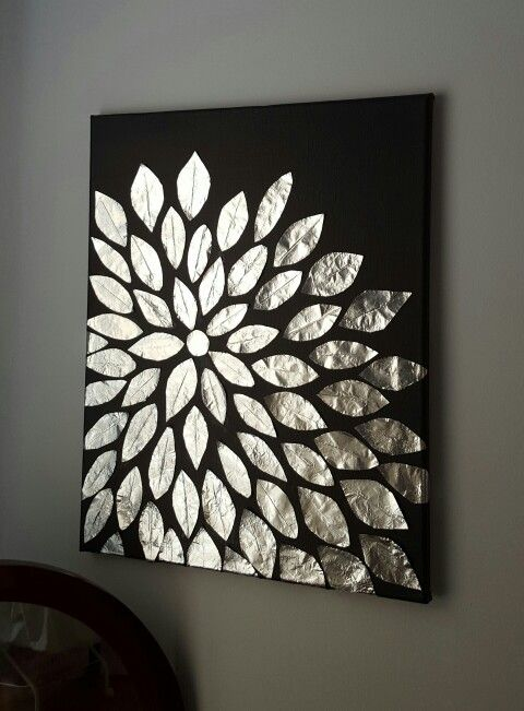 Diy wall art blank canvas aluminum foil and mod podge for Plaque decorative adhesive alu inox metal