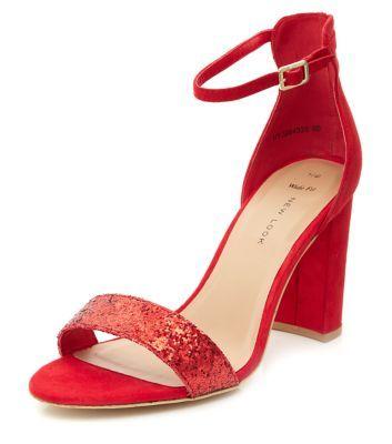 Red Glitter Strap Ankle Strap Heels