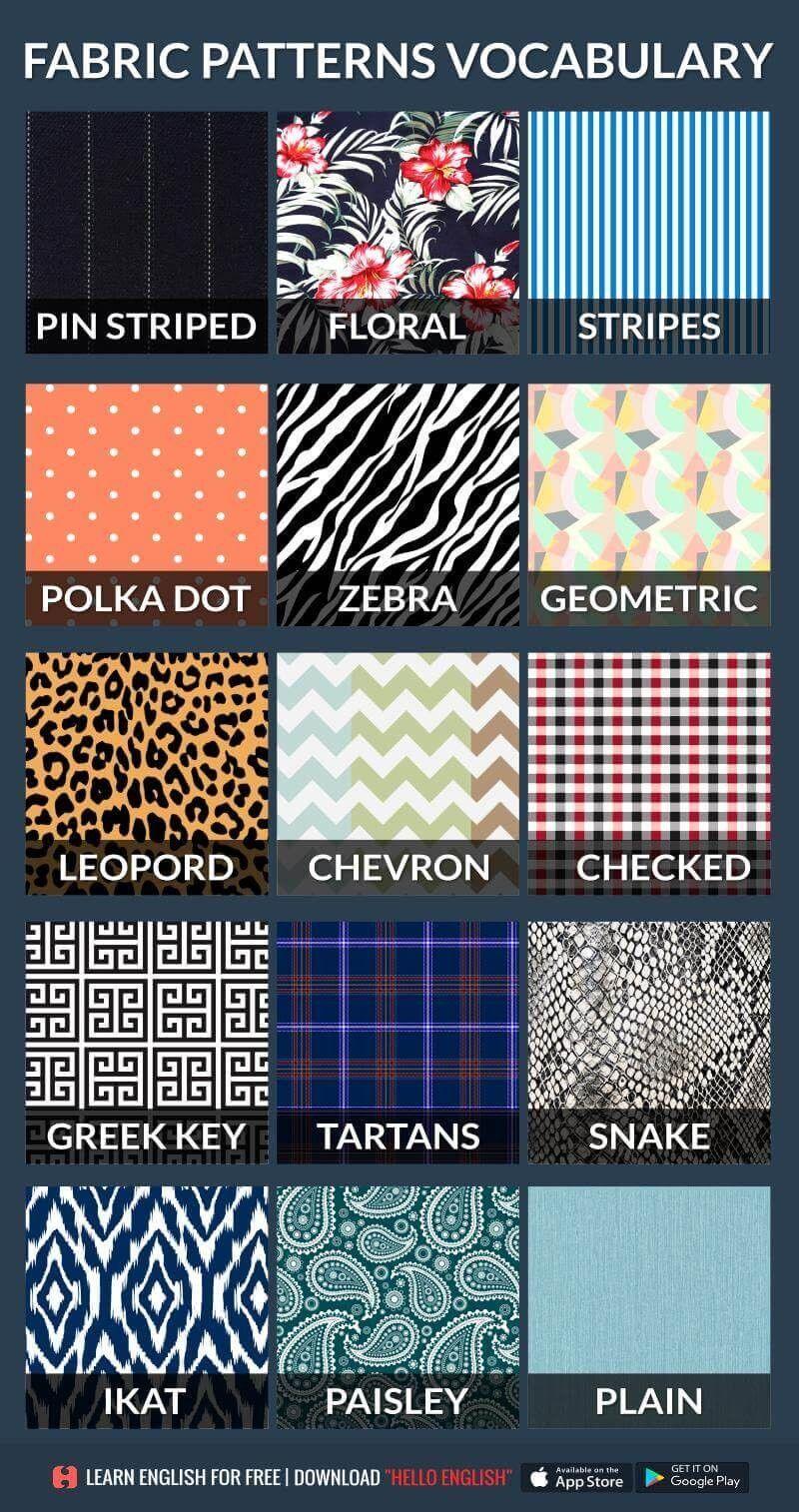 Fabric Patterns Vocabulary Clothing Fabric Patterns Fashion