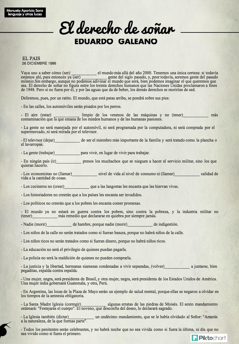 Eduardo Galeano: El derecho de soñar. Artículo para practicar el ...