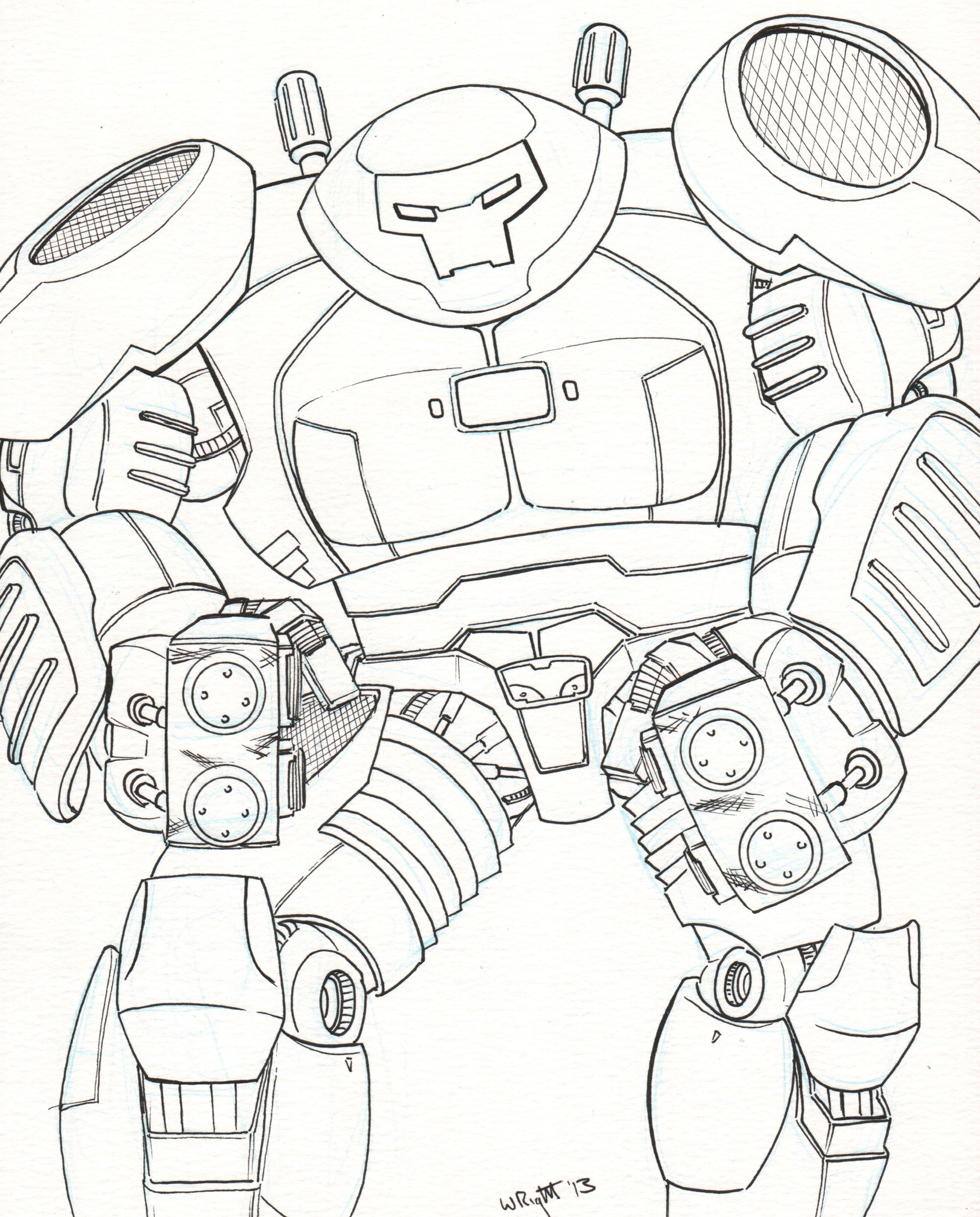 Iron Man Hulkbuster Vs Hulk Coloring Pages Sketch Page