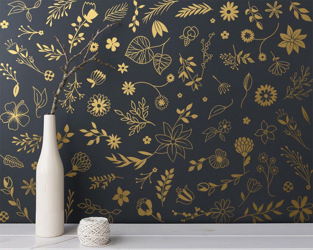 Ensemble De Stickers Muraux Botanique Flex Moderne Fleurs