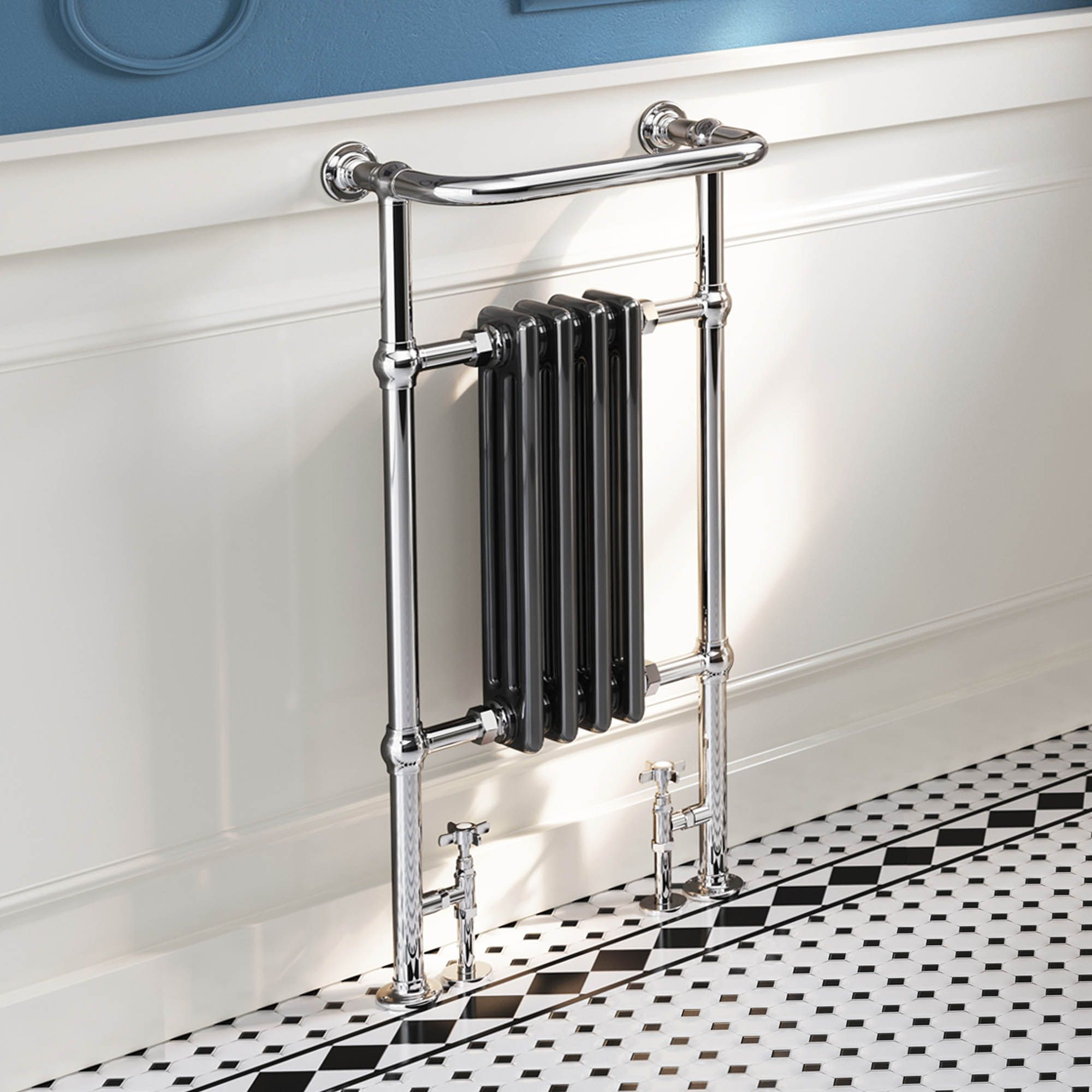 952x479mm Traditional Black Towel Rail Radiator Victoria Premium