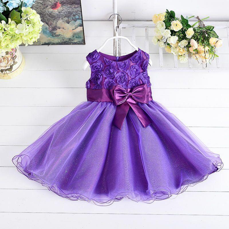 Princess Girls Party Dresses Flower Bow Wedding Dress for Christmas ...