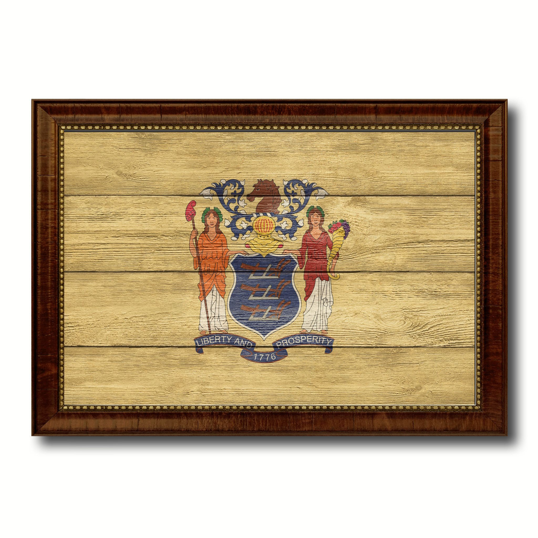 New Jersey State Flag Texture Canvas Print with Brown Picture Frame ...