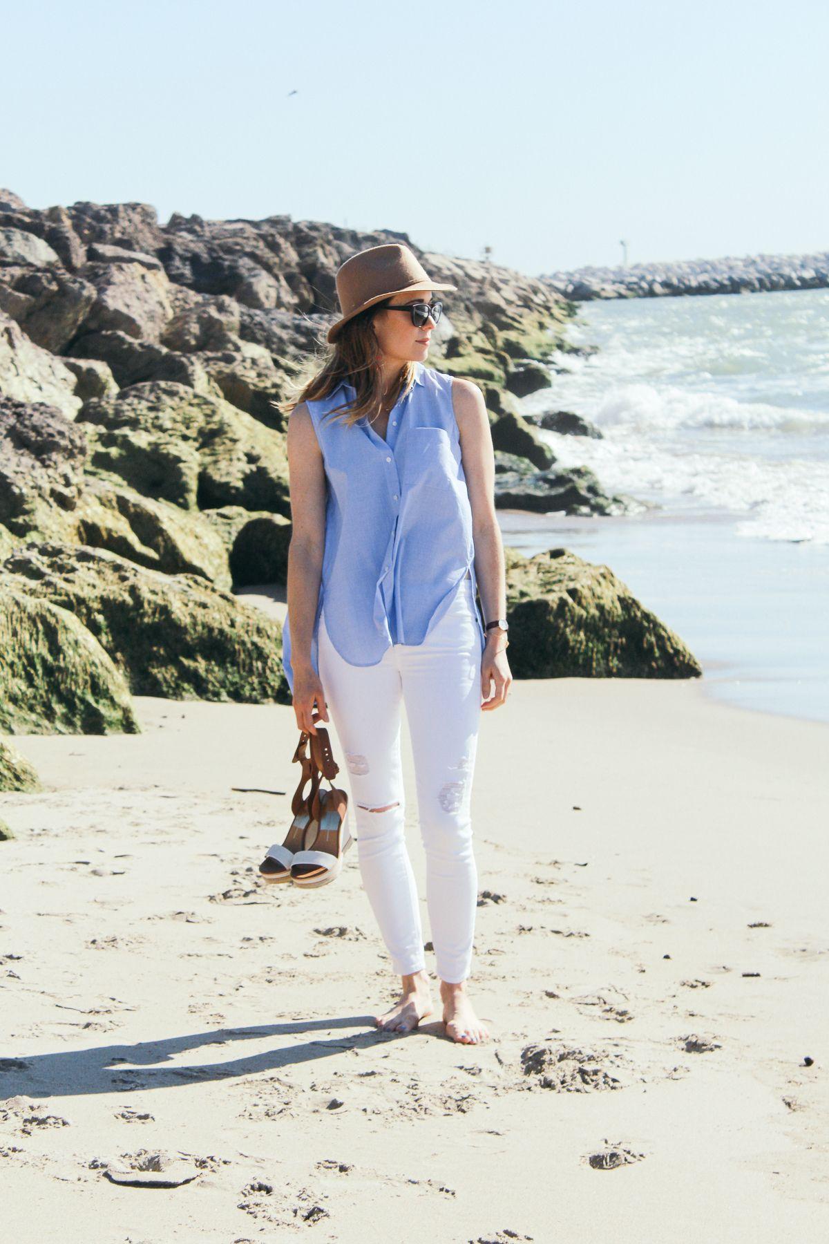 08199182fd spring style, summer style, resort style, distressed white denim, platform  sandals, fringe earrings, nude felt hat