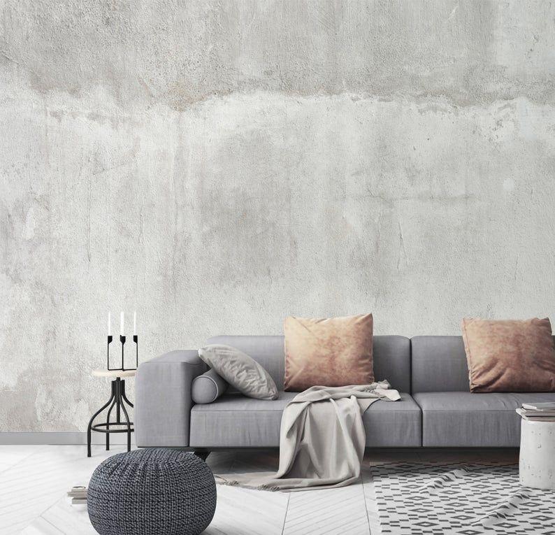 Removable Concrete Cement Wallpaper Mural Peel And Stick Etsy Concrete Walls Interior Faux Concrete Wall Concrete Walls Bedroom
