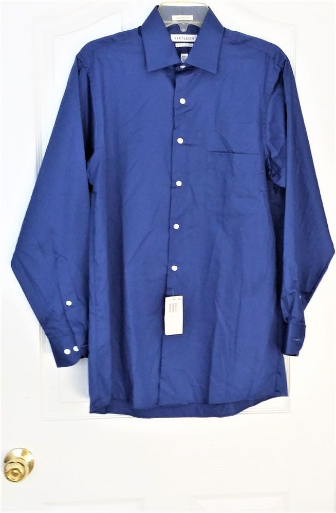 Van Heusen® Lux Sateen Long-Sleeve No-Iron Dress Shirt N15/Sleeve 32/33 Blue Vel #VanHeusen