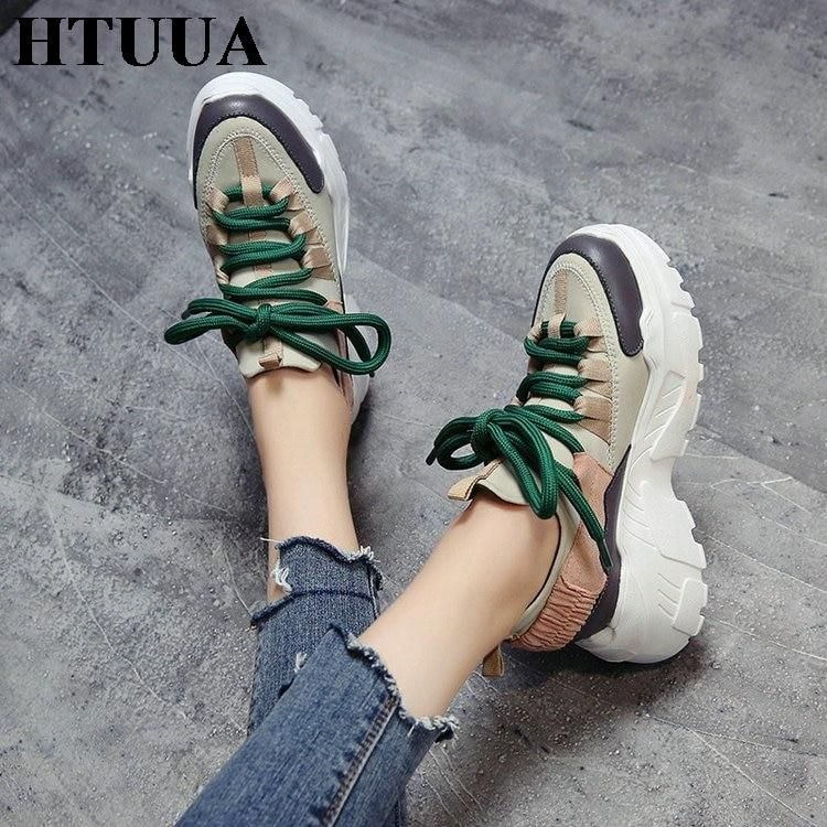 d6b2fe59972 HTUUA 2019 Spring Autumn Women Casual Shoes Comfortable Platform Shoes  Woman Sneakers Ladies Trainers