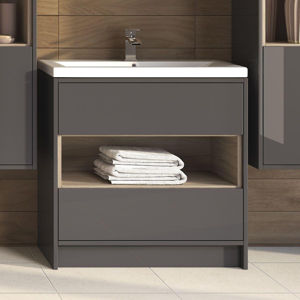 Open Shelf Vanity Bathroom Coast 800mm Greygls Driftwd 2 Drawer Vanity Unit Open Shelf