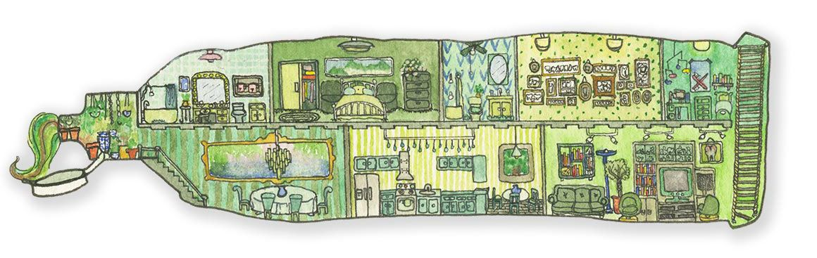 Toothpaste House - a miniature watercolor of a nice house for some teeth
