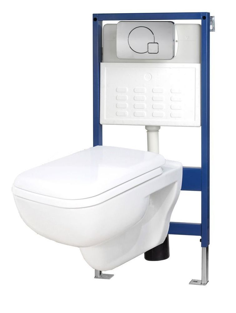 Square Wall Hung Cloakroom Toilet WC Pan Soft Close Seat Concealed ...
