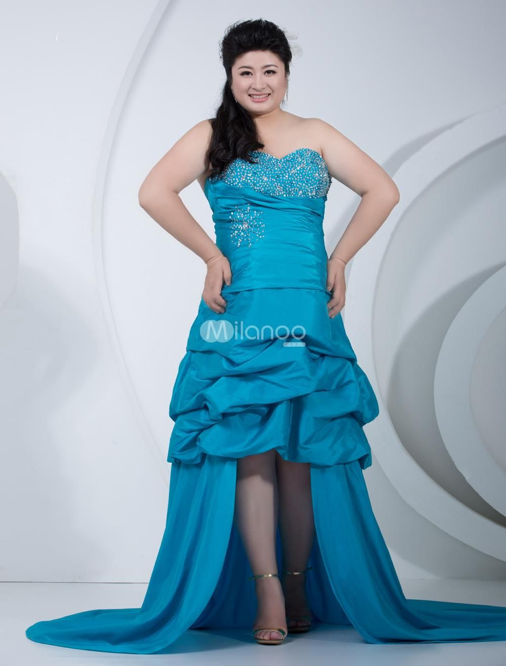 Unique Blue Taffeta Short Front Long Back Sweetheart Plus Size Prom ...