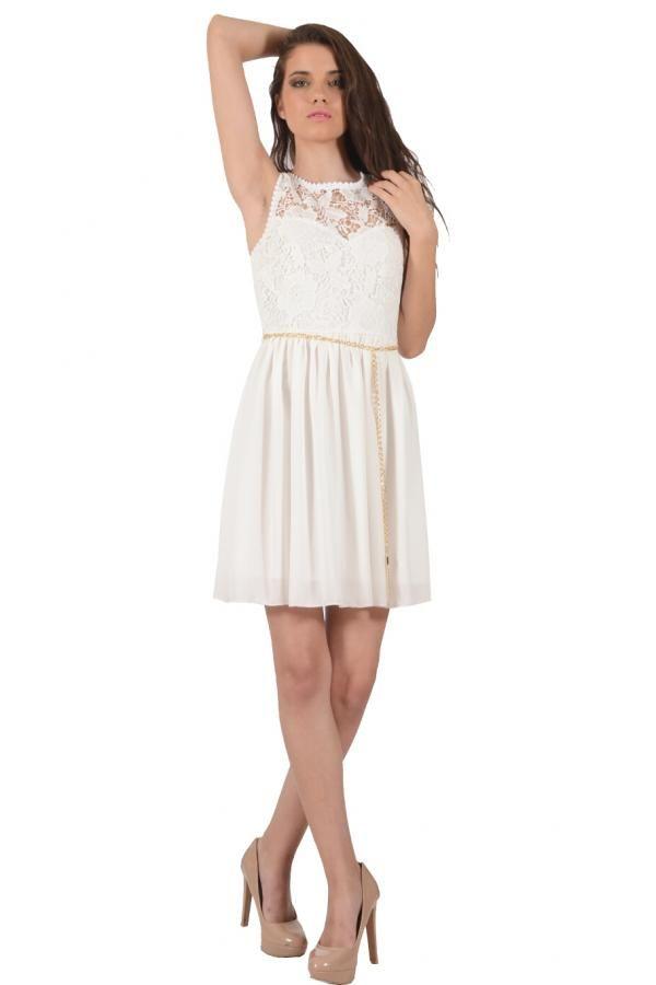 Φόρεμα διαφάνεια κοντό με λεπτομέρεια από δαντέλα στο μπούστο σε κλος  γραμμή αμάνικο fbe701f3e3a