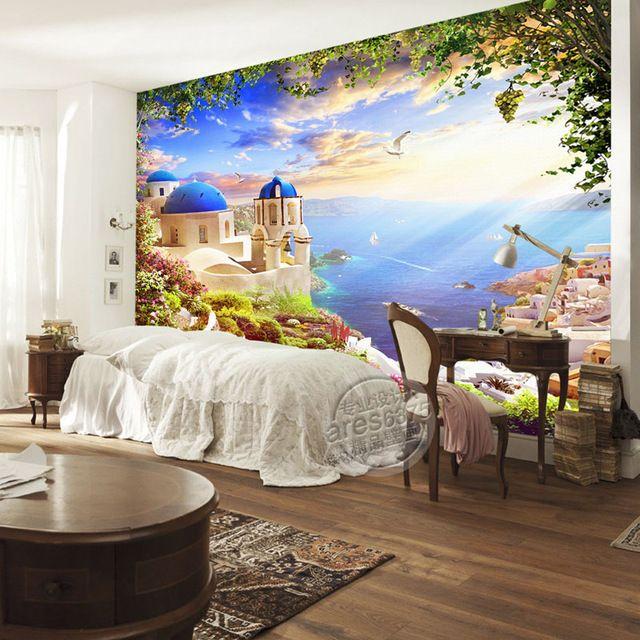 Fantasy Castle Photo Wallpaper Custom 3d Wall Murals Seascape Wallpaper Room Decor Kids Bedroom Sitting Room