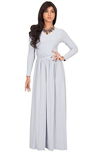 13862cd982d KOH KOH Petite Womens Long Sleeve Floor Full Length VNeck Ruched Empire  Waist Formal Fall Winter Wedding Abaya Modest Muslim Evening Gown Gowns  Maxi Dress ...
