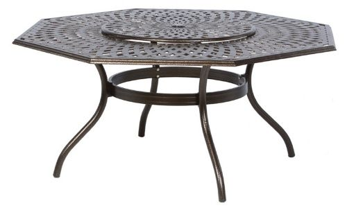 Alfresco Home Kingston Weave 71 In Hexagon Dining Table With Lazy Susan Patio