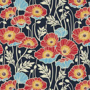 Satinette Poppy immaculées dans Midnight (marine, rouge, blanc) par Joel Dewberry - Notting Hill Collection - 1 yard, additionnels disponibl...