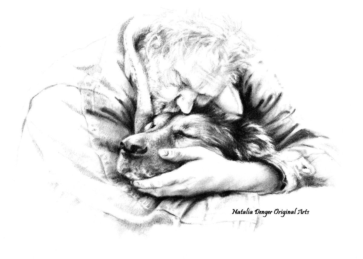 Life together love care loss friends graphite drawing