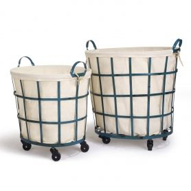 Adeco Round Rolling Laundry And Storage Baskets Beige Lining