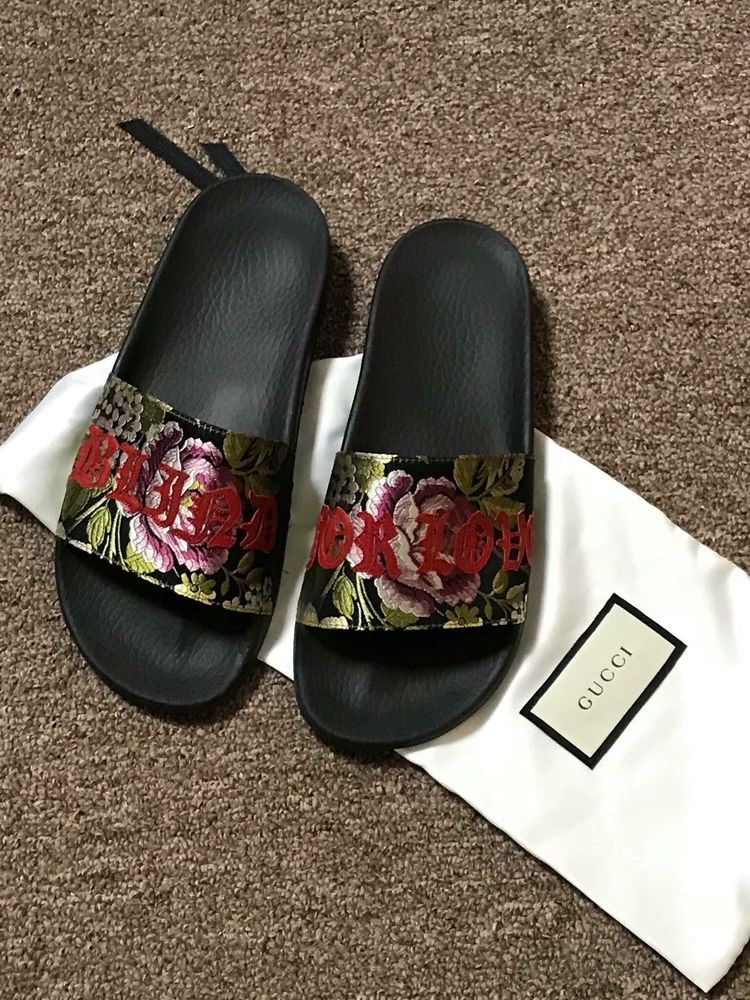 e4ea141f0695 Gucci Sandals Pursuit Floral Jacquard Blind For Love Pool Slides NEW 37   fashion  clothing  shoes  accessories  womensshoes  flats (ebay link)