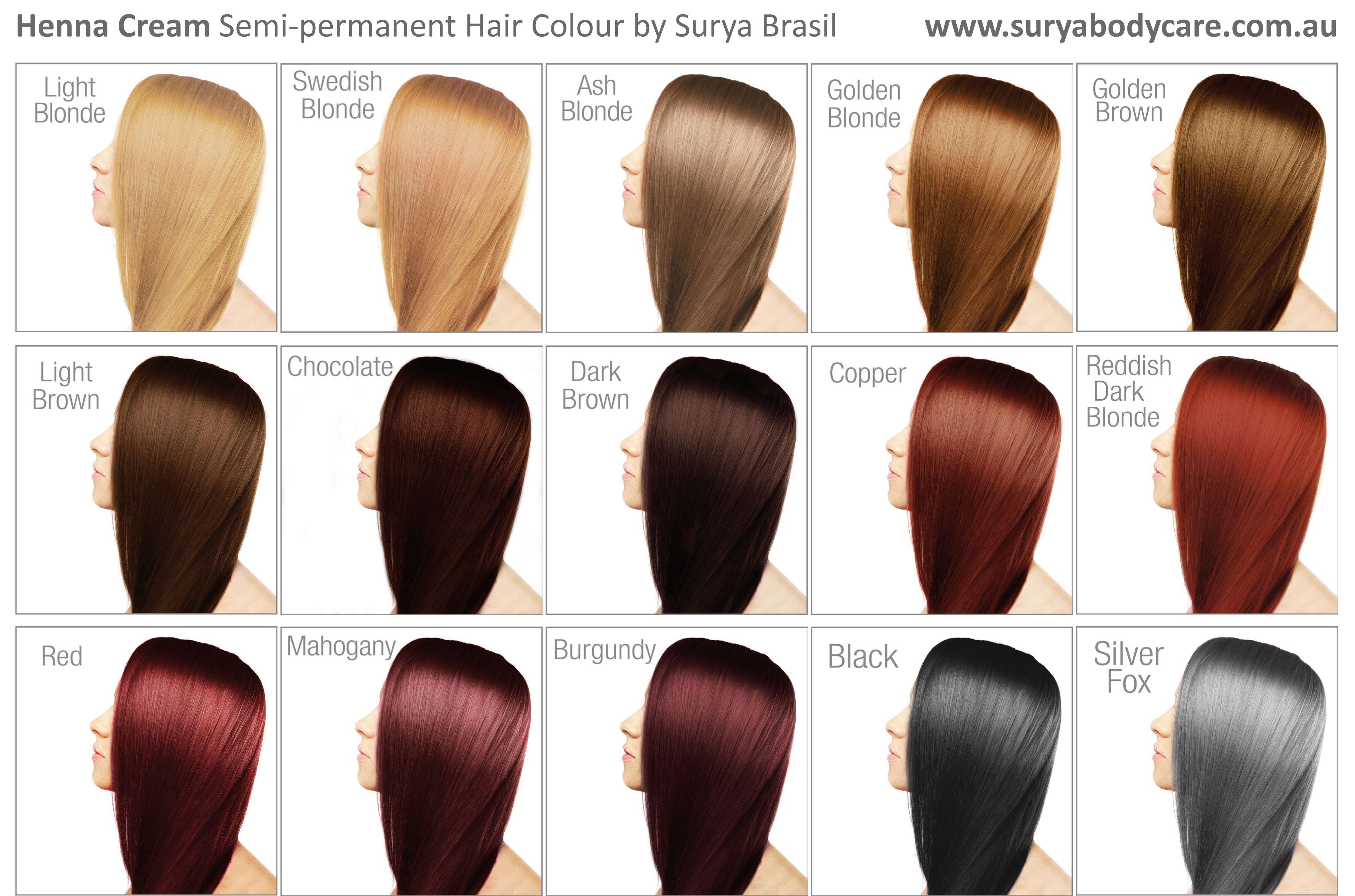 Surya Henna Cream Shade Chart Hot Head Pinterest Hair Hair