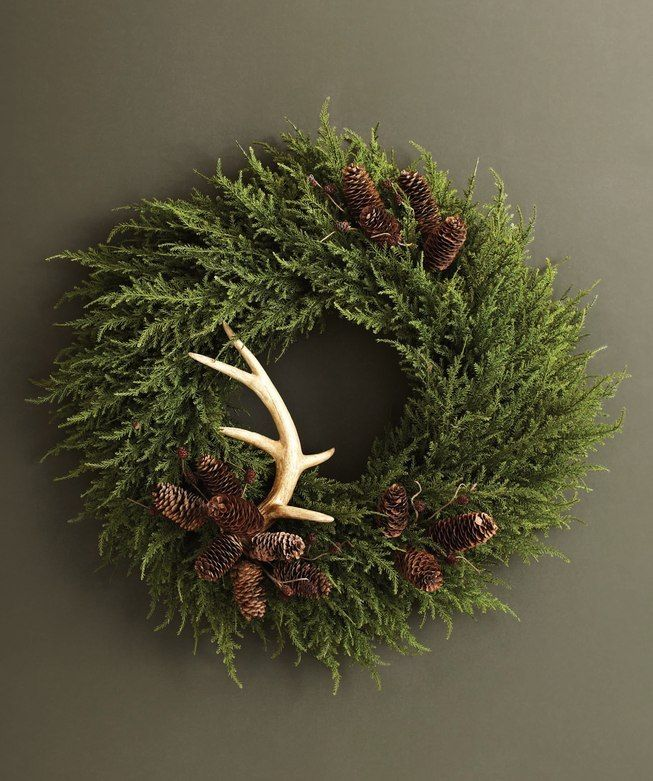 Photo of Evergreen wreath with pinecones, antler     #christmas #bestchristmas #bestchris…