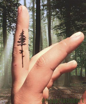 a4b7f0f2b Finger Tattoos: Forest Through the Trees   Small Tattoos   Finger ...