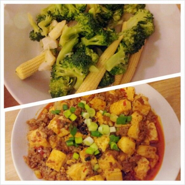 vegi & msn pou tofu for dinner!!!