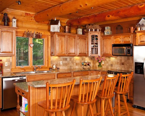 Traditional Kitchen Log Cabin Decorating Design Pictures