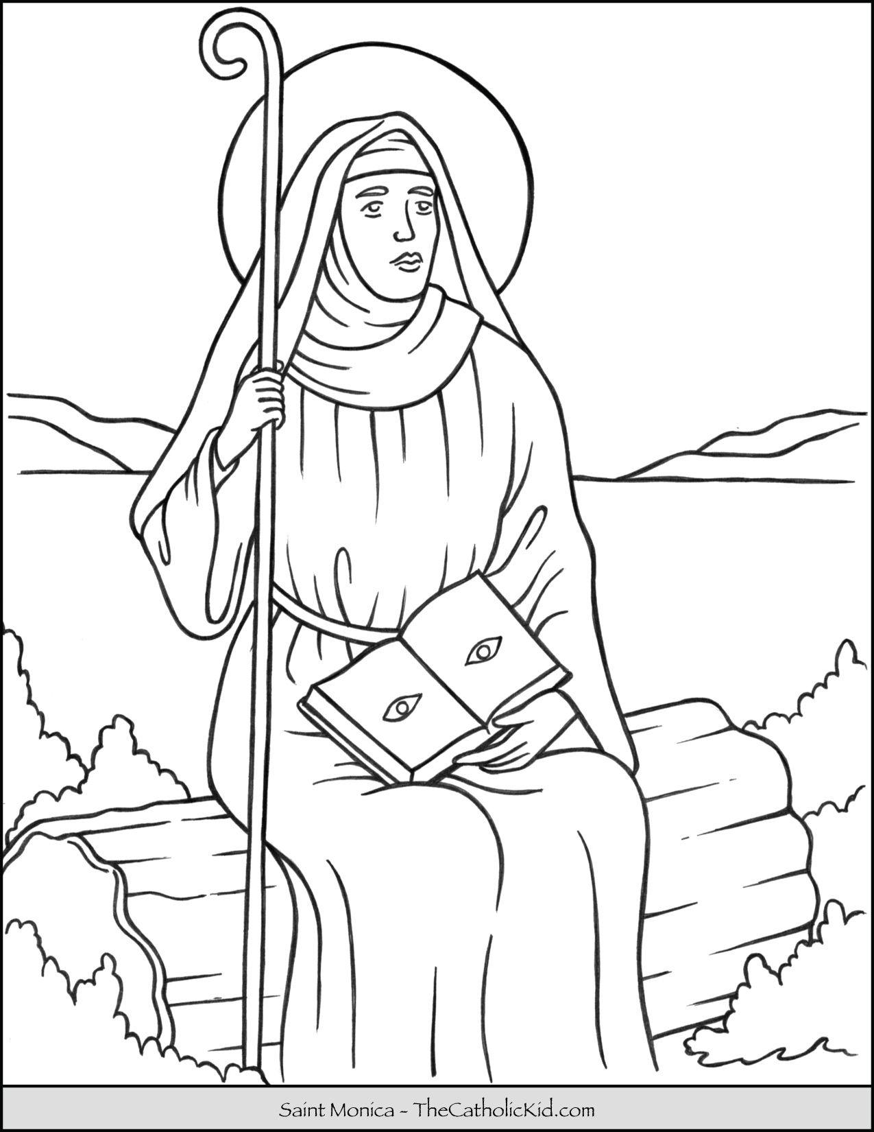 Saint Monica Coloring Page Thecatholickid Com St Monica Saint