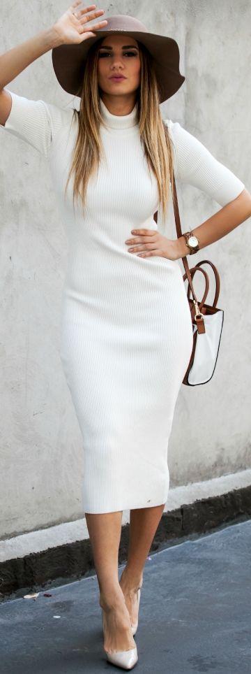 638d544e431e White long Sweater Dress Fall Streetstyle Inspo women fashion outfit  clothing stylish apparel  roressclothes closet ideas