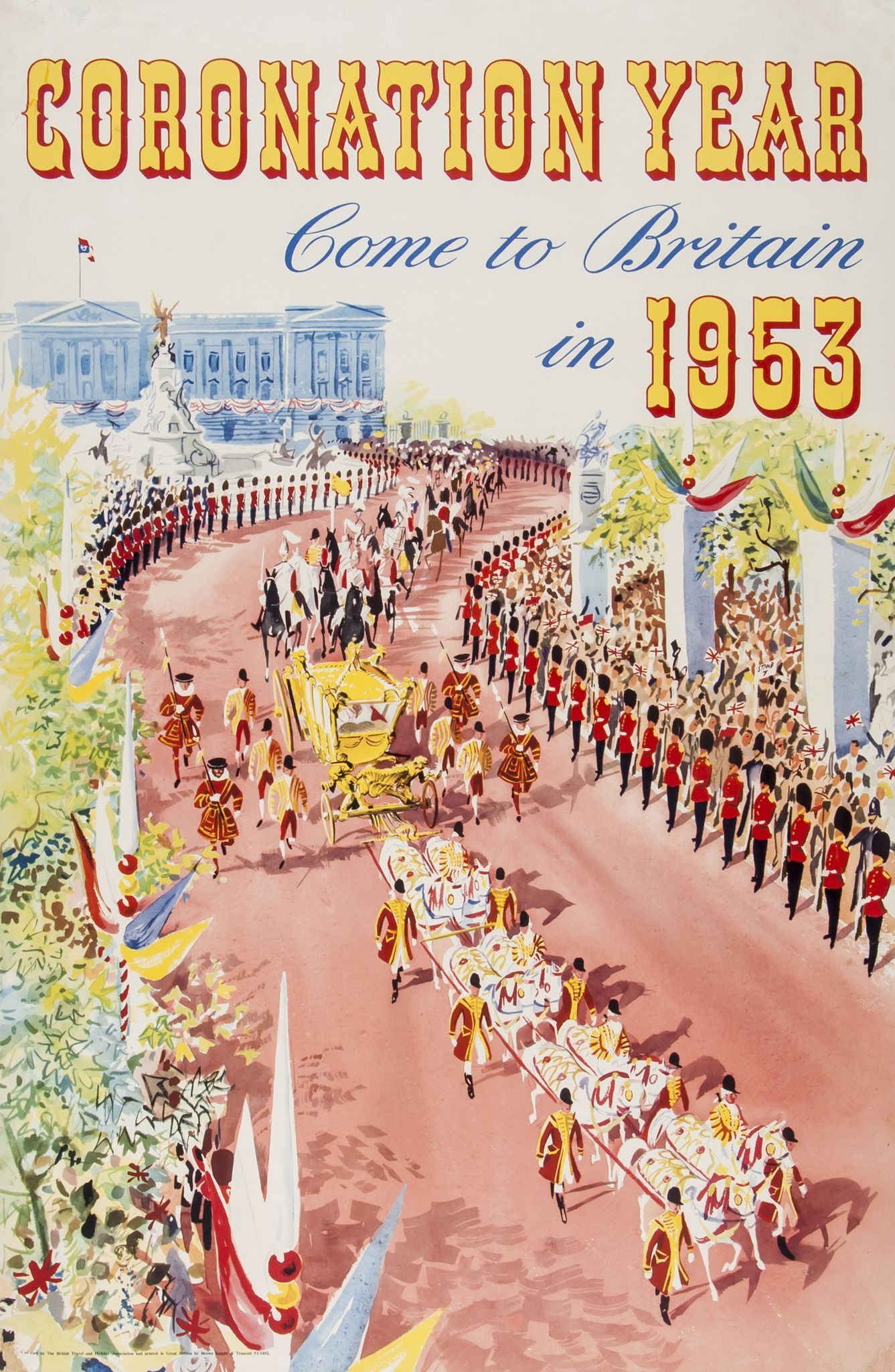 16x24 Visit London during Coronation 1953 Vintage Style Travel Poster