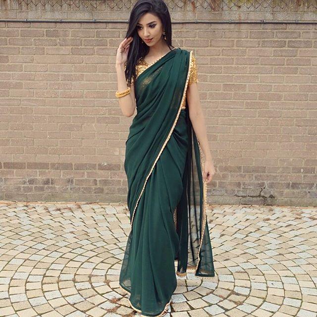 Saree I M Loving This Bottle Green Shade Can I Just Say I Was Freezinggggggggg Haha I Would Never Wanna Be A Model I C Modern Saree Saree Look Fancy Sarees