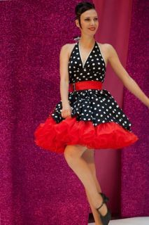 e9c3087dd05086 SETRINO Pinup Dress MARILYN with a RED Petticoat A backless short black and  white Polka Dot dress with a sweet little red bow, red belt and red fluffy  ...