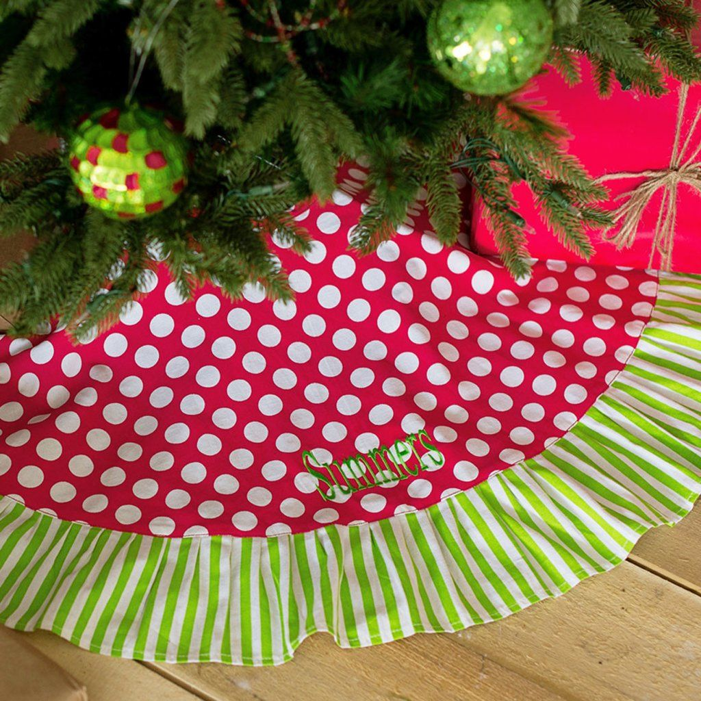 This Classic Cotton Dotted Christmas Tree Skirt, Trimmed With Bright Green  Stripes, Will Dress Up Your Tree For Many Years To Come! An Embroidered  Monogram ...