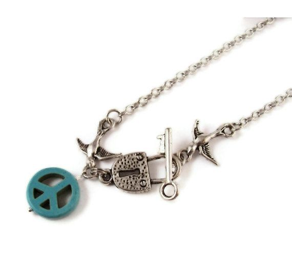 Key and Lock Sparrow Peace Long Necklace by ilovemy1984 on Etsy