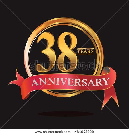 38 Years Anniversary Golden Logo With Ring And Soft Red Ribbon