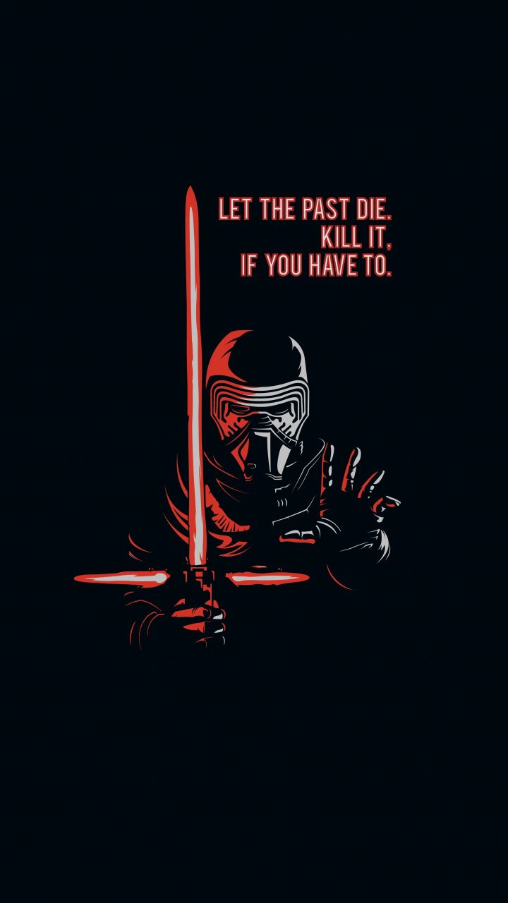Kylo Ren, villain, dark, minimal art, star wars, 720x1280