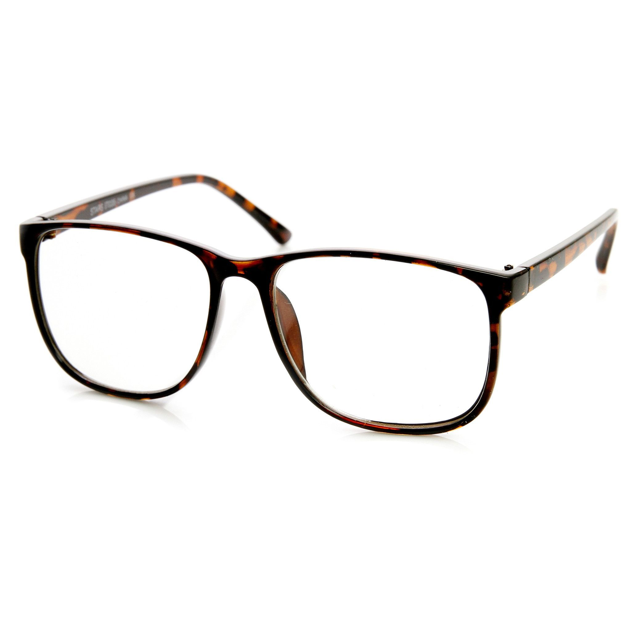 Large Retro Nerd Hipster Fashion Clear Lens Glasses 9339 | Brille